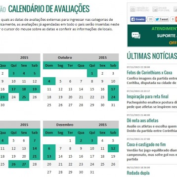 Calendário de avaliações do Coritiba!